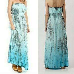 💛💙💛 Gypsy 05 100% SILK maxi ruffle tube dress